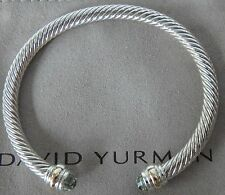 DAVID YURMAN STERLING SILVER CABLE CLASSIC BRACELET WITH GOLD & PRASIOLITE Large
