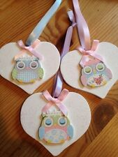Hanging Decorations Shabby Chic Farmhouse Heart Beautiful Pastel Owls Choice