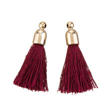 Cotton Tassel Charms & Gold Plated End Cap Bordeaux Pack of 2 (K70/1)