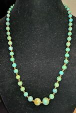 GORGEOUS ANTIQUE GRADUATED CHINESE GREEN TURQUOISE BEADS NECKLACE