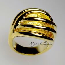 NEW 18K GOLD EP TANGLED ILLUSION COCKTAIL STATEMENT BIG RING WOMEN'S SIZE 7