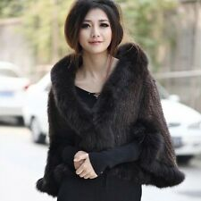 100% Real Genuine Knitted Mink Fur Fox Collar Cape Stole Shawl  Coat P0001