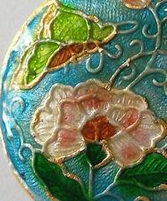 Round cloisonne focal bead, pivoine/papillon, bleu/rose, 32mm, fabrication de bijoux