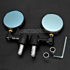 """CNC Aluminum Motorcycle Round Rear View Mirrors Side Mirrors 7/8"""" Bar End Mirror"""