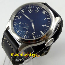 47mm Parnis black dial 6498 Hand Winding movement Black Dial wrist Mens Watch