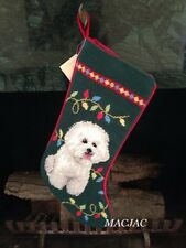 Bichon Dog Needlepoint Christmas Stocking NWT