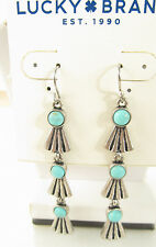 Lucky Brand Silver Tone Tribal Feather Turquoise Stone Dangle Earrings