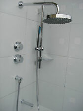 NEW ALL METAL CHROME 3 WAY THERMOSTATIC VALVE, DUAL 2 SHOWER, BATH SPOUT SET 089