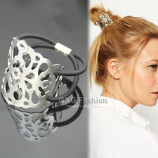 Bloggers Fav Women Silver Filigree Curved Lace Head Hair Elastic Dress Cuff Band