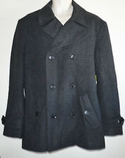 Mens ATTENTION Double Breasted Gray Peacoat Dress Casual Jacket Coat M NWT $99