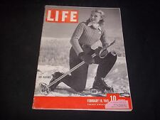 1945 FEBRUARY 19 LIFE MAGAZINE - SKI CLOTHES - FRONT COVER - J 1806