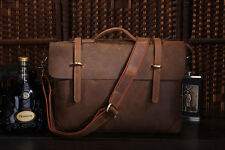 J.M.D Men's Cow Leather Messenger Portfolio Shoulder Briefcase Bag Dark Brown