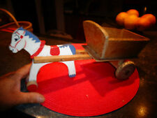 Ancien Jouet de Plancher en Bois Attelage Cheval  Charette Tombereau Wooden Toy