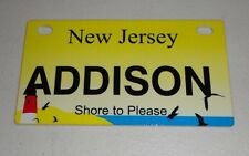 New Jersey Bicycle ADDISON Bike License Plate NEW!