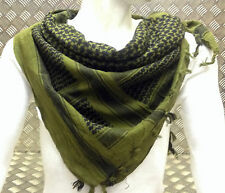 100% Cotton Shemagh / Arab Scarf / Pashmina / Wrap / Sarong. Green & Black - NEW