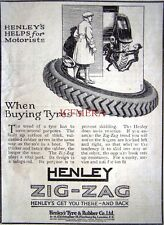 Small 1923 HENLEY 'ZIG-ZAG' Motor Car Tyres Tire AD - Original Print ADVERT
