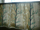 "Cafe Curtain Valance Navy Beige Brown Rod Pocket 54"" x 18"" FLAT"