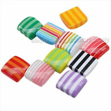 200x 250204 Colorful Stripe Square Stick-on Flatback Resin Stud Earrings Beads