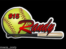 Customized Softball with Bat Vinyl Decal- 6 inches GORGEOUS!!!