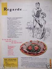 PUBLICITÉ 1958 RECETTE CORNED-BEEF EN SALADE UN REPAS DE CHEF - ADVERTISING