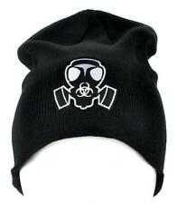 Gas Mask Bio Hazard Sign Beanie Cyber Goth Clothing Knit Cap Deathrock Punk Rock