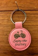 ENJOY THE JOURNEY pink leather Keyring Keychain w/ bicycle