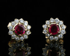ESTATE NATURAL 1.62ctw RUBY AND DIAMOND HALO 14K GOLD EARRINGS
