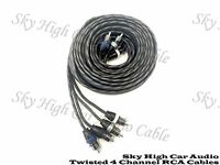 Sky High Car Audio 4 Channel Twisted 20 ft RCA Cables Coated 20' OFC Four