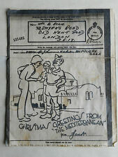 1946 Redacted/ Military-Printed Christmas Letter from Soldier. BNAF/ 8th Army