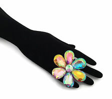 Fab & Sexy Large Cocktail Ring Diamante Flower Design with Adjustable Size