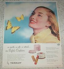 1948 print ad - Yardley of London cosmetics pretty Girl butterfly ADVERT Page
