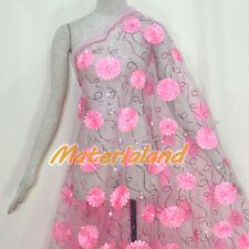 By meter Pink Satin Flower Embroided Sequinned Lace Net Crafts Fabric #FA03C