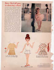 Vintage Betsy McCall GOES TO DANCING SCHOOL Paper Dolls 1962 uncut BALLET