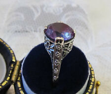 Color Change Alexandrite Filigree Floral Ring Sterling Silver Vintage Style Sz 7