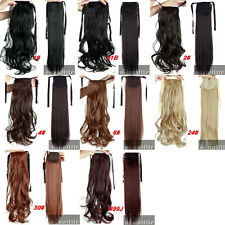 Real Thick Clip In Human Hair Extension Ponytail Wrap On Ponytail Long Synthetic