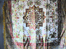 """Vintage Tapestry Style Rich & Golden ~ Middle Eastern Square Tablecloth ~ 50"""" sq"""