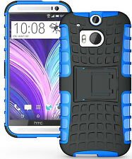 Blue Heavy Duty Strong Tradesman TPU Hard Case Cover Stand for HTC One M8