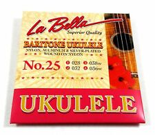 La Bella Ukulele Strings Baritone No. 25 Nylon, Alum, & Silver 028-032-038w-036w