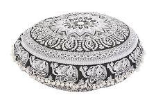 Indian Large Elephant Mandala Round Floor Meditation Cushion Cover Ottoman Poufs