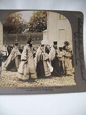 PHOTO ANCIENNE STEREO 1903 RUSSIA MOSCOW Orthodox Procession William RAU РОССИЯ