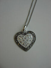 GENEVIEVE & GRACE STERLING SILVER NECKLACE, MARCASITE AND CRYSTAL HEART PENDANT