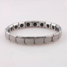 Silver 316L Stainless Steel Magnetic Therapy Health Care Men Energy Bracelet