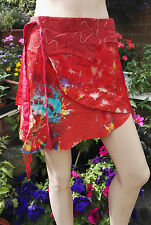 Fair Trade Gringo Red Cotton Wrap Mini Skirt Boho Festival Hippy One Size