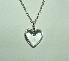 GORGEOUS CLEAR GLASS HEART PENDANT SILVER PLATED CHAIN