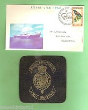 #D115.  1963 NEW ZEALAND ROYAL VISIT ENVELOPE & LEATHER H.M.Y. BRITANNIA COASTER
