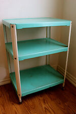 Vintage Minty Cosco Turquoise Three Tier Rolling Cart Kitchen Shelf 1950's