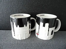 Starbucks Set of Discounted Amsterdam & Paris Black White Icon Relief 18oz Mug