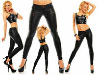 Womens Sexy Leather Look Skinny Slim Trousers Stretchy Jeans size 8 10 12 14 Zip