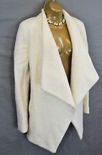 RIVER ISLAND Cream drape/waterfall teddy coat UK 12