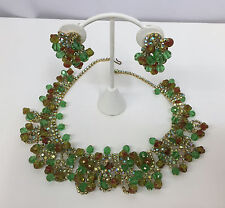 VINTAGE ALICE CAVINESS BIB NECKLACE & EARRINGS SET GREEN & BROWN AURORA BOREALIS